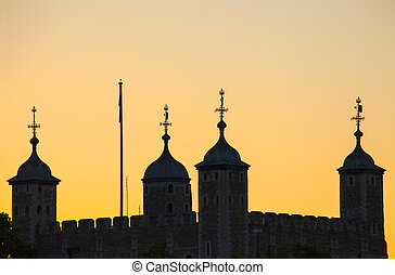 Tower of London Silhouette - The Tower of London silhouetted...