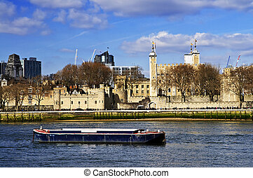 Tower of London skyline  view from Thames river