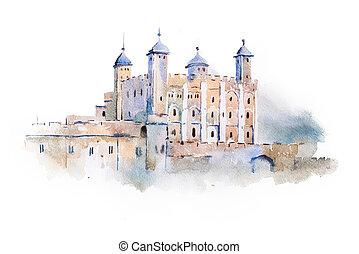 tower of London watercolor drawing, London, UK. English...