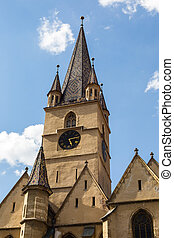 Tower of Lutheran cathedral of Saint Mary in Romanian Sibiu