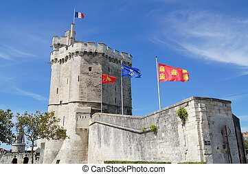 Tower of medieval town wall in La Rochelle, France
