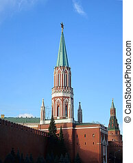 Tower of Moscow Kremlin at Red Square in Moscow. Russia.