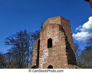 Tower of old monastery on the Heiligenberg in Heidelberg