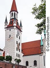 tower of Old Town Hall on Marienplatz in Munich