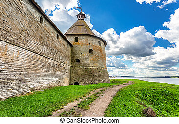Tower of Oreshek fortress is an ancient Russian fortress