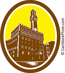 Illustration of the Tower of Palazzo Vecchio in Florence, Firenze, Italy viewed from low angle set inside oval done in retro woodcut style.