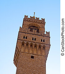 Tower of Palazzo Vecchio, world famous palace of Florence
