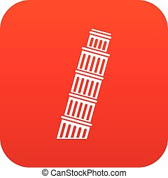 Tower of pisa icon digital red - Tower of Pisa icon digital...