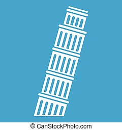 Tower of pisa icon white - Tower of Pisa icon white isolated...