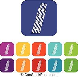 Tower of pisa icons set - Tower of Pisa icons set vector...