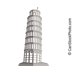 Tower of Pisa in Italy flat icon - Leaning Tower of Pisa in...