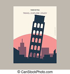 Tower of Pisa, Italy Vintage Style Landmark Poster Template