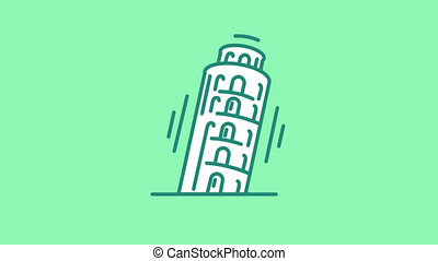 Tower of Pisa line icon is one of the Travel and Landmarks icon set. File contains alpha channel. From 2 to 6 seconds - loop.