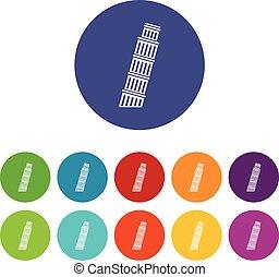 Tower of pisa set icons - Tower of Pisa set icons in...
