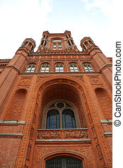 Tower of Red City Hall building in Berlin called Rotes...