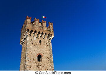 Tower of scaliger castle in Sirmione, Italy
