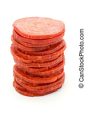 Tower of slices of salami over white - Tower of slices of...