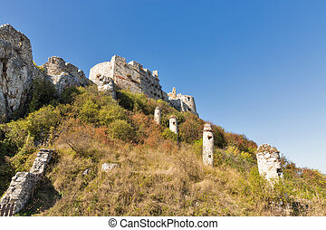 Tower of Spis Castle in Slovakia. Spissky hrad, National...