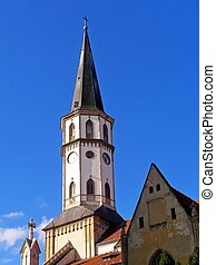 Tower of St. Jacob Catholic Church in Levo?a.
