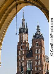 Tower of St. Mary Basilica ( Mariacki) on Main Market Square, Krakow, Poland.