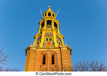 Tower of the A church at sunset in Groningen