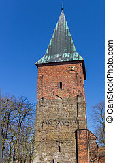 Tower of the Andreas church in the center of Verden, Germany