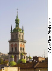 Tower of the Assumption Cathedral in Lviv. Blurred background