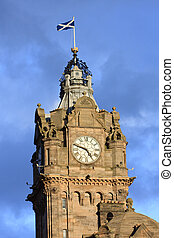 Tower of the Balmoral Hotel before blue sky, Edinburgh