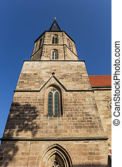 Tower of the Basilika St. Cyriakus in Duderstadt, Germany