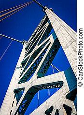 Tower of the Ben Franklin Bridge in Philadelphia, Pennsylvania.