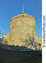 Tower of the Byzantine castle in Kavala, East Macedonia and Thrace