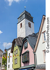 Tower of the castle church and old houses in Hachenburg