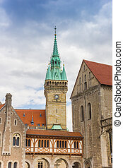 Tower of the historic town hall in Braunschweig