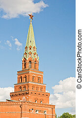tower of the Moscow Kremlin on a sunny summer day