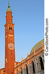 tower of the Palladian Basilica in Vicenza headquarters of...