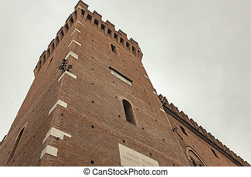 Tower of the town hall building in Ferrara in Italy 2