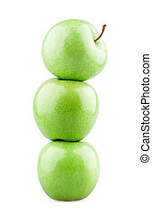 Tower of three green apples