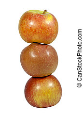 Tower of Three Red Apples on White Background