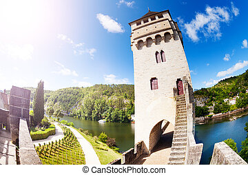 Tower of Valentre bridge in Cahor, Lot, France