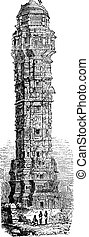 Tower of Victory in Chittorgarh, Rajahstan, India vintage engraving