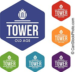 Tower old age icons vector hexahedron - Tower old age icons...