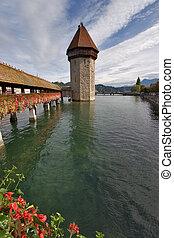 Tower on lake