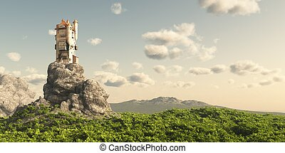 Mediaeval or fantasy tower on a rocky outcrop surrounded by empty moorland and trees, 3d digitally rendered illustration