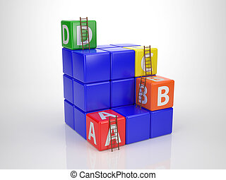 Tower out of Letter Dices - Reach your Goal