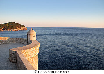 Tower on Old Town wall in Dubrovnik Croatia, overlooking the Adriatic