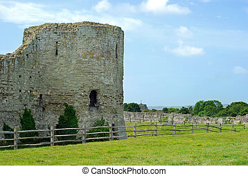 tower pevensey castle ruins