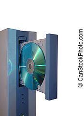 Tower - An open CD drive of a computer