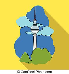 Tower, single icon in flat style. Tower, vector symbol stock illustration web.