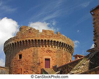 Tower, sky, Castelnau Castle
