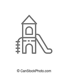 Tower slide for playground line icon.